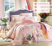 4pcs bedding set // The new Tencel bedding 100% Tencel sided bedding linen quilt Cheap wholesale / want you naked? Come on(China (Mainland))
