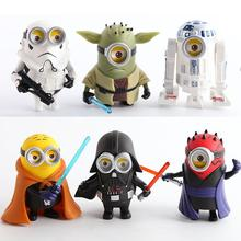 10cm 6pcs/lot Q Style Star War Minions Cosplay Darth Vader & STORM & Yoda TROOPER Action Figure Model Toy()