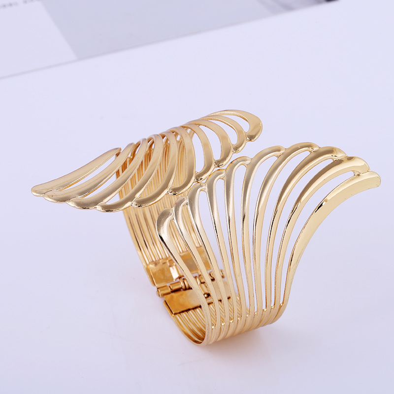 Alloy Metal Feather Bracelet Smooth Hollow Hoop Open Ended Wide Cuff Bangle