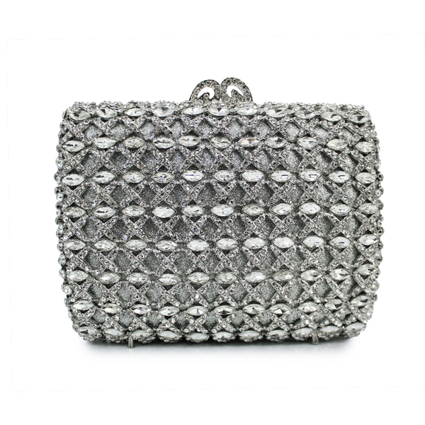 silver clutch evening bag bridal wedding handbags fancy ladies purse (88164A-S)(China (Mainland))