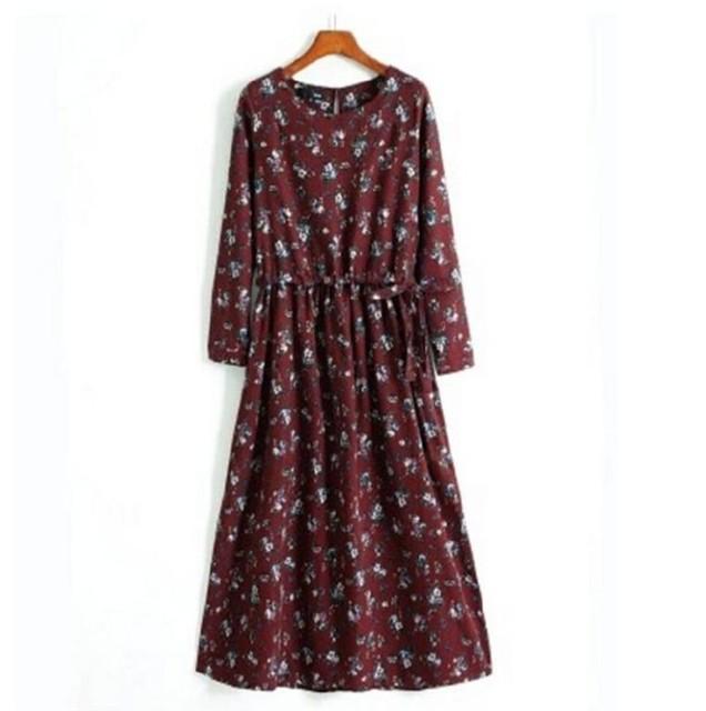 2015 женщин, Девушки с длинными рукавами платье большой ярдов тонкая талия цветочные платья, Летнее платье