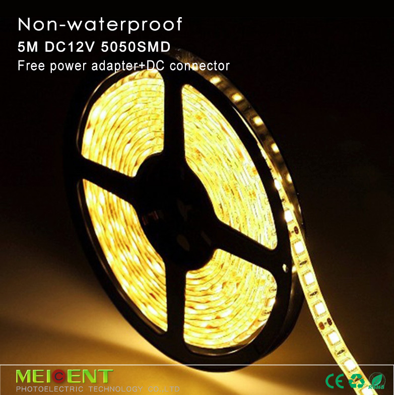 Free shipping 5m/roll 300 SMD5050 Non-waterproof LED strips+ DC 12V 5A Power Adapter + DC Connector Non-waterproof use interior(China (Mainland))