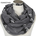 FOXMOTHER 2017 New Fashionable Grey Blue Panda Animal Infinity Scarf Scarves For Women Ladies Gifts