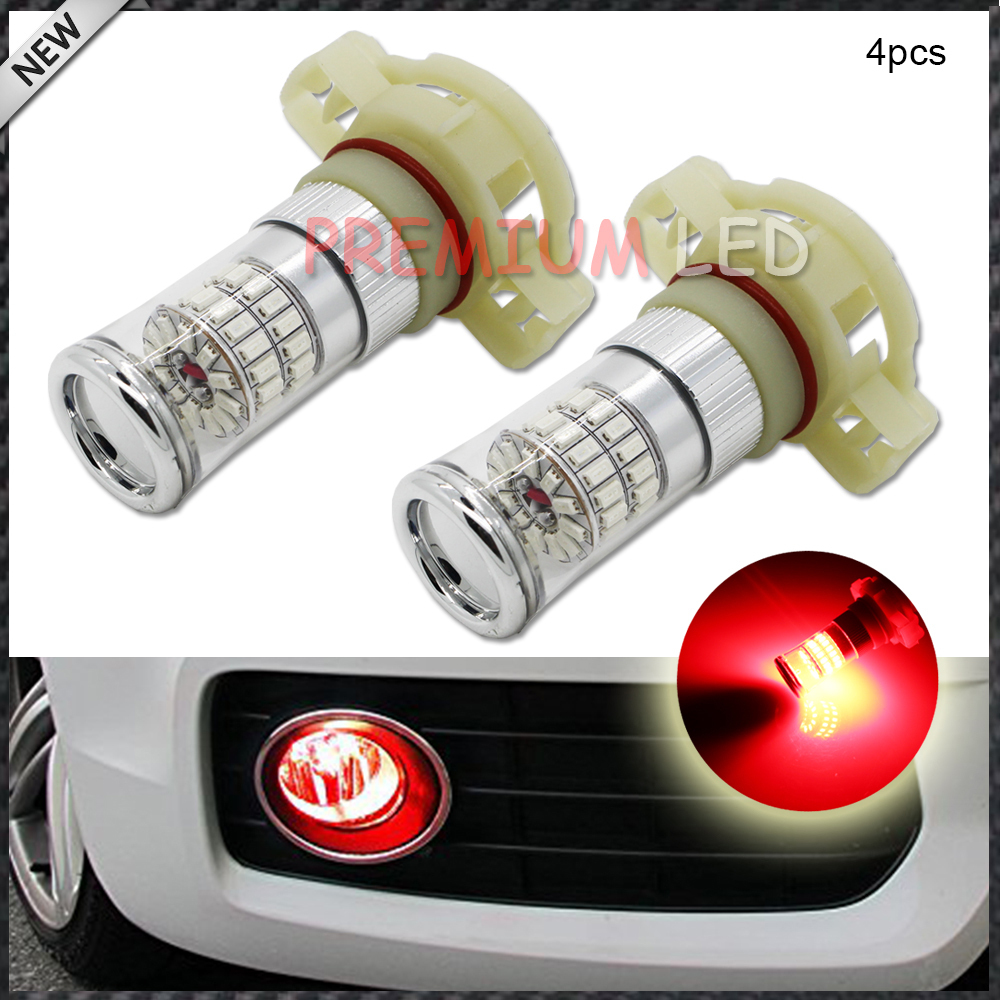 4pcs High Power Brilliant Red 48-SMD 5202 2504 H16 LED Bulbs w/ Reflector Mirror Design Fog Lights DRL Replacement Bulbs