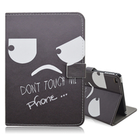 PU Leather Cover Case With Stand Do not Touch My Pad Pattern for iPad mini 4
