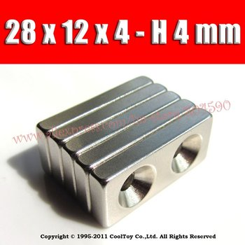 5 / Pack F&P WholeSale Craft Model Powerful Strong Rare Earth NdFeB Block Magnet Neodymium N35 Magnets 28 x 12 x 4 mm 2 Ring 4mm
