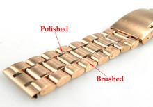 ZLIMSN 24mm Belt Metal Buckle Watchbands Pure Solid Stainless Steel Rose Gold Plated Watchband BANDS Watch Strap Bracelets A1 - Linamarket store