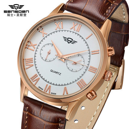 Swiss Men Quartz Watch SENSDEN Fashion Male Business Genuine Leather Strap Luxurious Wristwatch Switzerland Waterproof(China (Mainland))