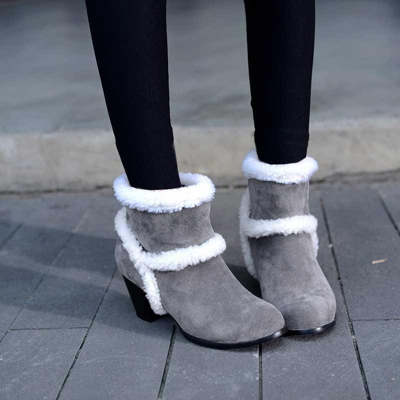 ซื้อ พลัสSize34-43 2016ใหม่ผู้หญิงบู๊ทส์หิมะส้นหนาฤดูใบไม้ร่วงขี่บู๊ทส์3สีสตรีฤดูหนาวข้อเท้ารองเท้าหิมะSBT2293