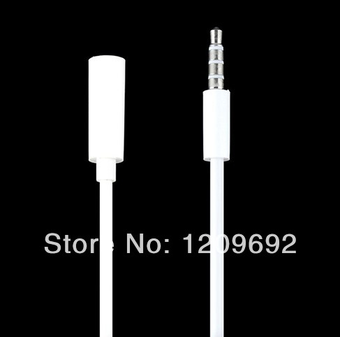 Free Shipping -200pcs/lot High quality 1M white Extension Cord 3.5mm Audio Cable Male to Female Line for iPhone IN STOCK(China (Mainland))