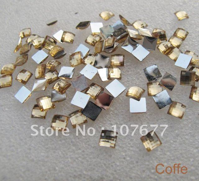 Acrylic Coffe Flat  Square Rhinestones 4mm,1000 pcs/lot with one color free shipping