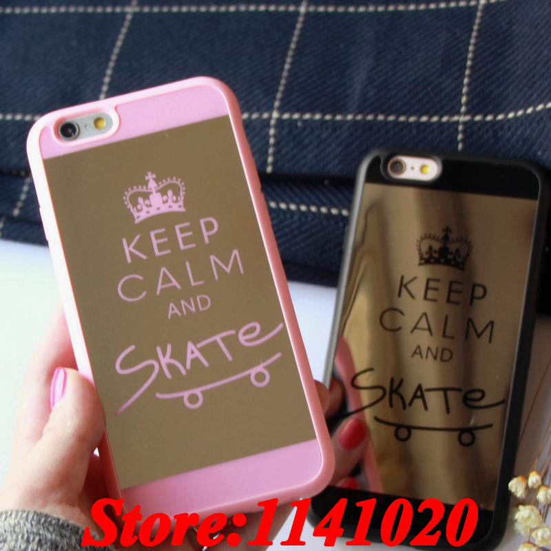 Luxury Mirror Surface Soft TPU Crown Case Keep Calm and Skate Print for iPhone 5 5s 6S 6 Plus Chrome Carcasa Capa Coque Fundas(China (Mainland))
