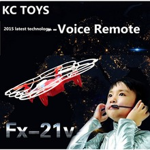 Free Shipping FX-21V Voice Remote Control 2.4G 6-Axis RC Quadcopter UFO Drone Helicopter UAV -S127
