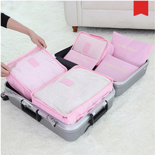 New 6pcs/set Women Travel Storage Bag High Capacity Luggage Clothes Tidy Organizer Pouch Portable Waterproof Storage Case(China (Mainland))
