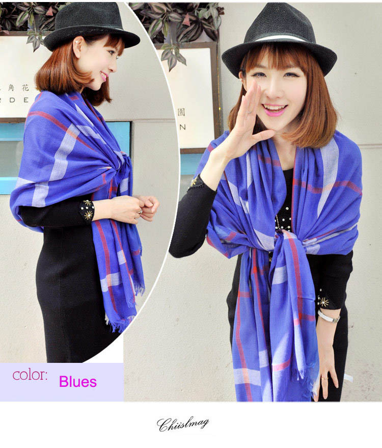 Women ladies British high qualtiy blues Plaid Cashmere Scarf Warm Cashmere Polyester Scarves Shawl L030-blues(China (Mainland))