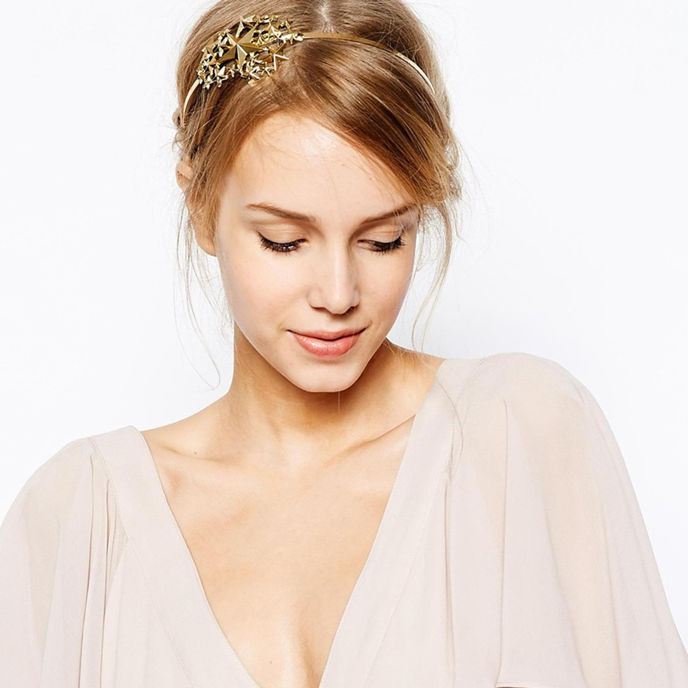 Wholesale metal gold Star Hearband Hair Accessories Hairstyle braider acessorios para cabelo head band barrette CF108(China (Mainland))