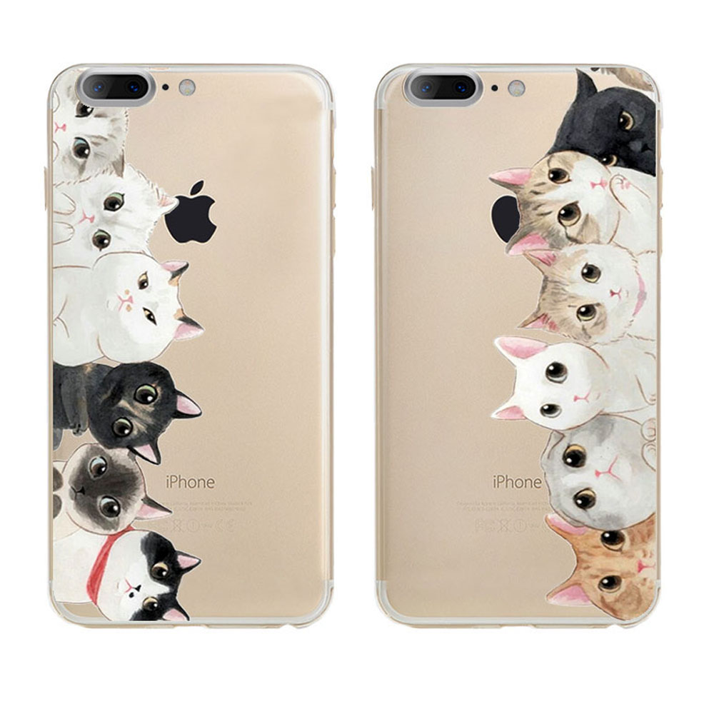 New Fashion Animal Black And White Cat Design Tpu Transparent Mobile Phone Case Cover For Iphone 7 Cases(China (Mainland))