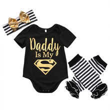 Dad is My Superman Newborn Infant Baby Girls Clothes Short Sleeve Romper Striped Legging Warmer Headwear 3PCS Outfit Clothing(China (Mainland))
