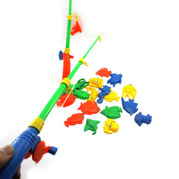 Гаджет  New 2015 Best Gift Baby Kid Cute Magnetic Double Fishing Rods + 20 Fish Model Pretend Play Toy Gift None Игрушки и Хобби