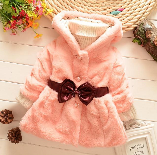 2014 winter new arrival girl faux fur jacket Coats Butterfly Waistband thickening outerwear free shipping(China (Mainland))