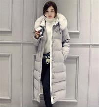 Fur collar hooded down cotton padded women winter Down&Parka winter jackets women winter clothing long coats Female wadded TT135