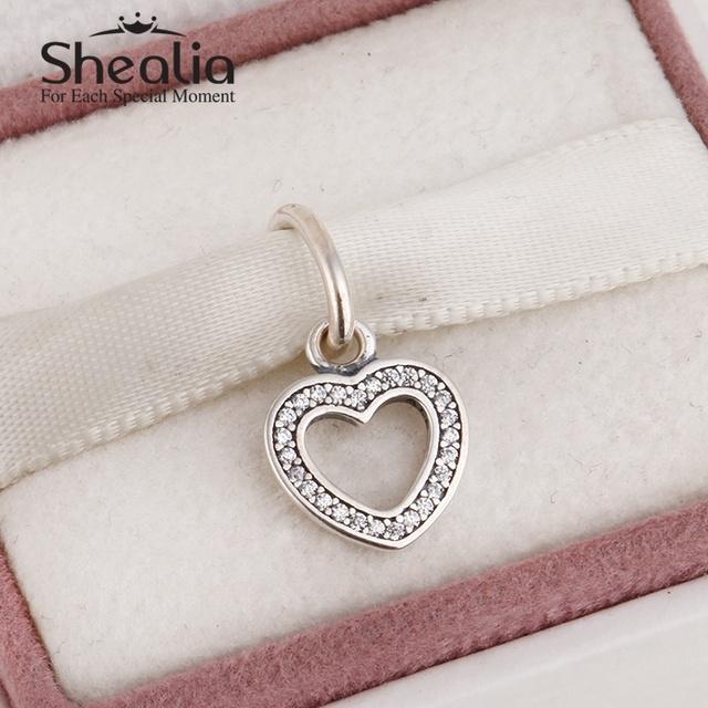 2015 новый стерлингового серебра 925 любовь сердца шармов для женщин проложить ясно циркон подходит известный бренд diy браслеты SH0577
