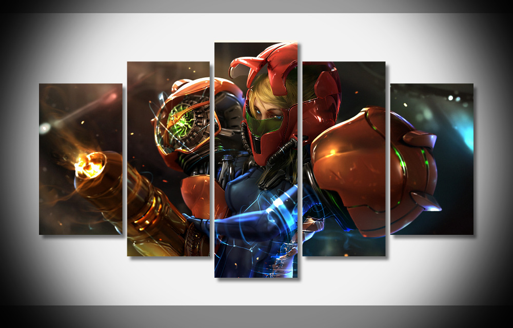HUGE-Metroid-Samus-Poster-print-on-Canvas-stretched-framed-finish-homed-decor-gallery-wrap-art-print