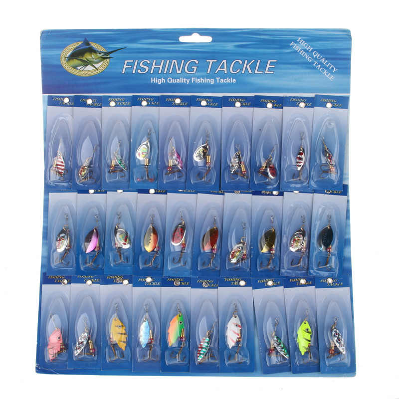 Metal 30Pcs/Lot Fishing Lure Spoon Hard Bait Fishing Tackle Spinner Bait Jig Head Swimbait Crankbait Fishing Lure<br><br>Aliexpress