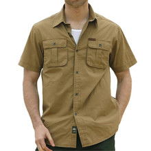 Plus Size Mens Shirts 2016 Summer Fashion Brand Casual Shirt Male Short Sleeve Solid Cotton Chemise Homme Pocket Shirts S8817
