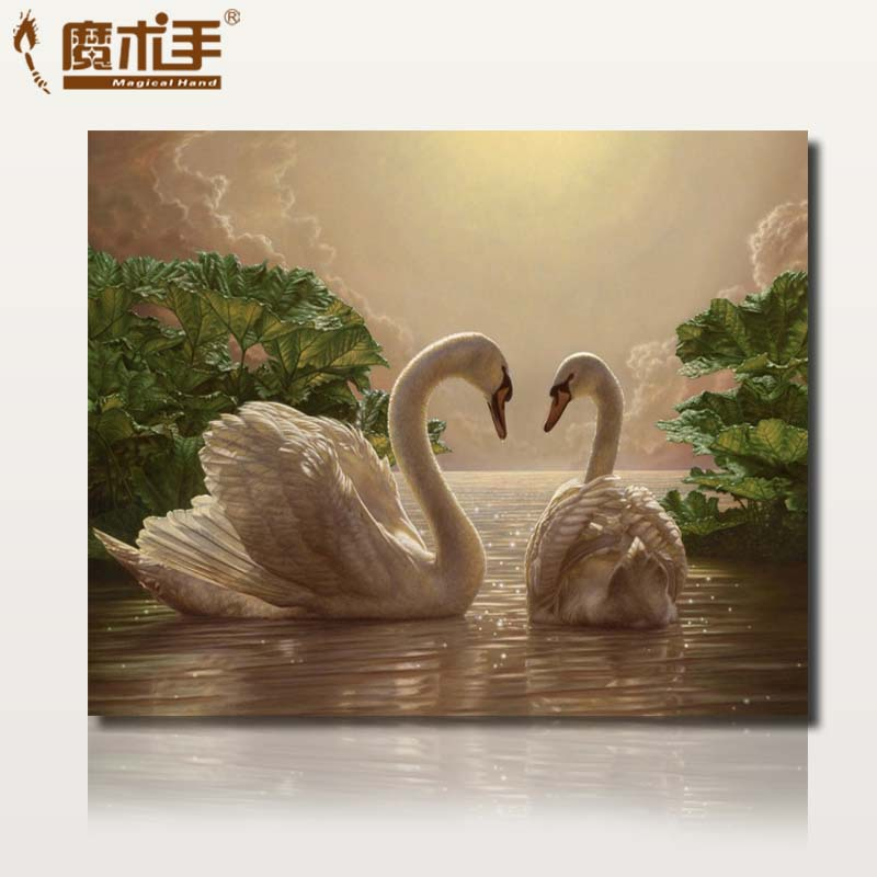Special diy digital painting landscape animals living room bedroom painted swan love the new handmade decorative painting(China (Mainland))