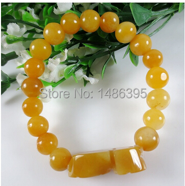 2014 New Unisex Boys Girls Men Male Fashion Yellow Agate Beads Bangles Women Lady Bracelet Pear Vintage hand chains - Lucky Dog's House store