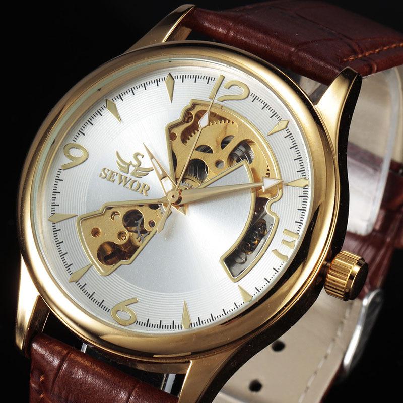 2015 men watch luxury brand skeleton hollow automatic self-wind watch business leather strap wrist watch watchfully 582801K(China (Mainland))