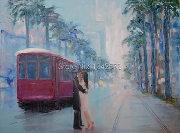Free Shipping beautiful Lover new york Street Modern Hand Painted Home Wall Decoration Art Oil Painting on Canvas Unique Gif(China (Mainland))