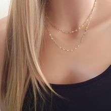 Buy Layering Sequin Chain Gold Silver Layered Minimal Necklace Short Long Chain Girlfriend Gift Shiny Chain XL019 for $1.26 in AliExpress store