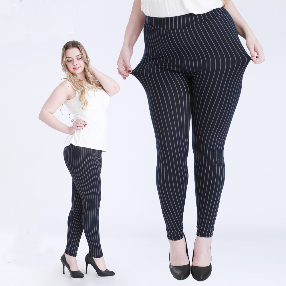Big Size Fat Female Women Vertical Stripe Faux Jeans Legging Plus Size 5XL Legging for 100kg Women Thin Type Stretchy Pants(China (Mainland))