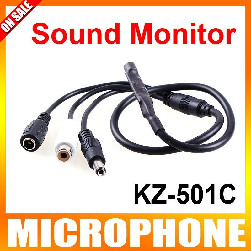 Audio pick up Mini Microphone With DC Output Mic Audio Sound Monitor For CCTV Security Camera(China (Mainland))