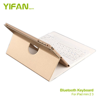 Keyboard Folio Case Bluetooth For ipad mini 3 / 2 / 1 Ultra Slim With 360 Degree Rotation and Comfortable Low-Profile Keys