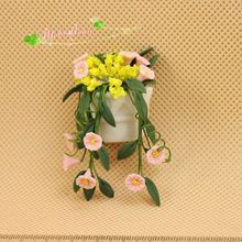 1 12 Dollhouse Miniature clay pink flowers wall outdoor garden pot  Free Shipping(China (Mainland))