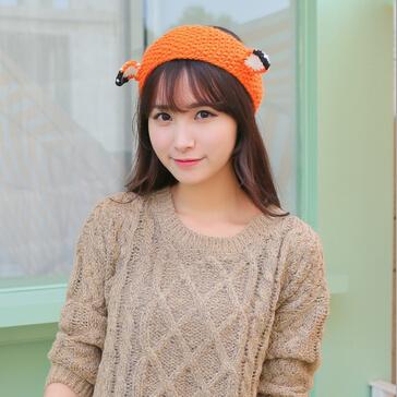 2015 New Cute Fox Knitted Headband Cosplay Costume Wool Crochet Wide Elastic Hairband Winter Ear Warmer Bands(China (Mainland))