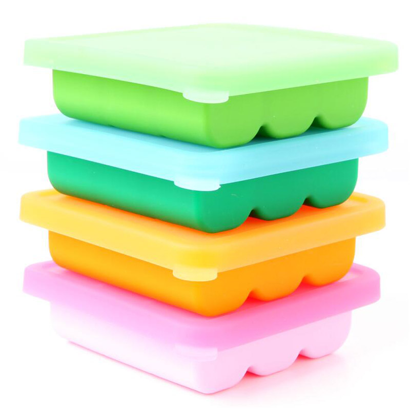 BPA Free Baby Food Container Storage 9 Grids Platinum Silicone Baby Food Supplement Tray Ice Cube Box with Lid 1 PC