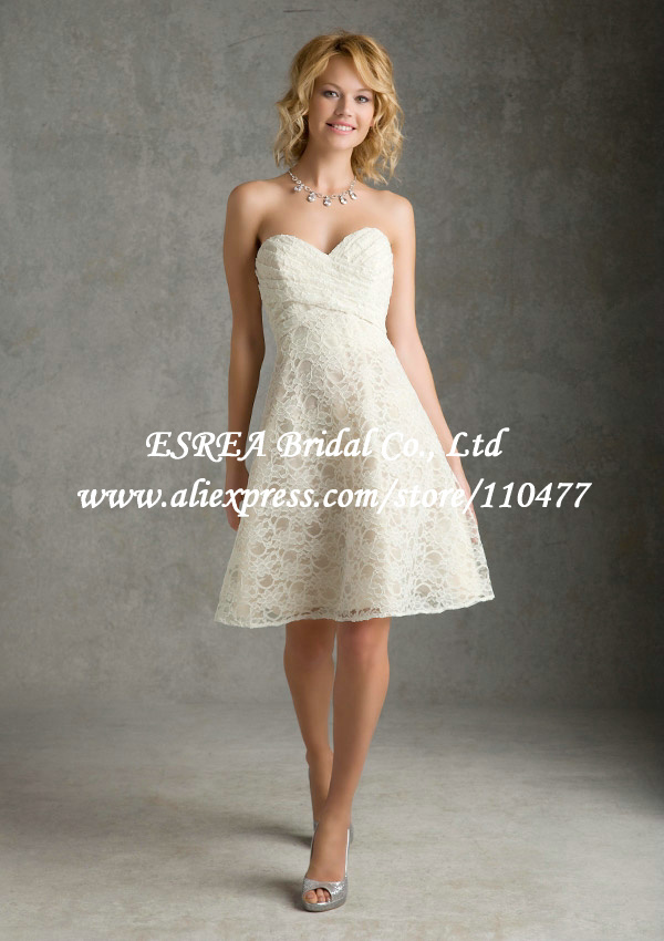 Sweetheart vogue short lace bridesmaid dress beige wedding for Beige short wedding dresses