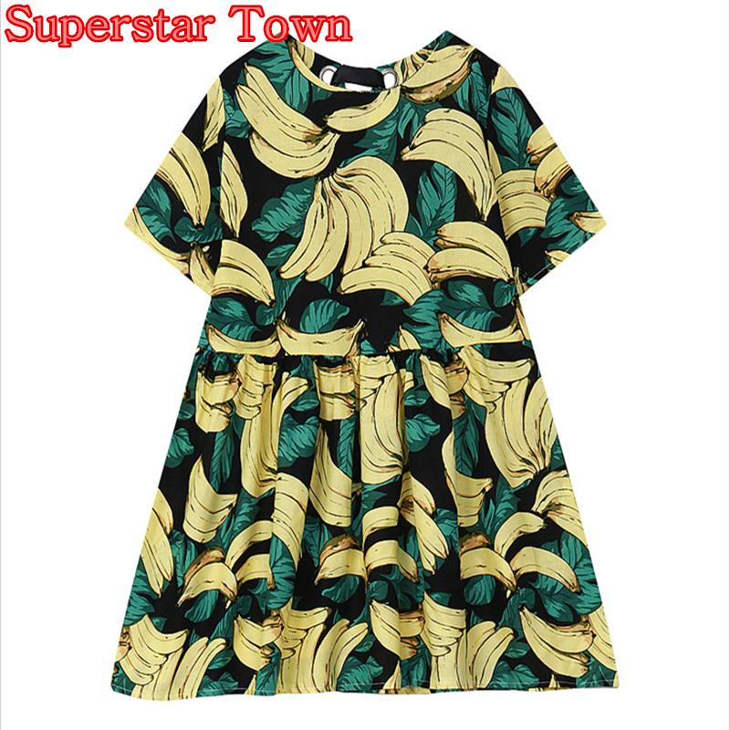 Harajuku Banana Dress 2016 Summer Short Sleeve Casaul Loose Girls Kawaii Dress Sweet Ladies Clothes(China (Mainland))
