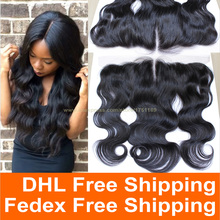 free part full frontal lace closure 13x4 brazilian lace frontal closure body wave virgin ear to ear lace frontal with baby hair(China (Mainland))