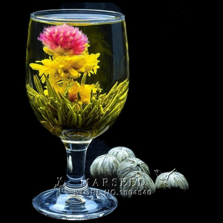 Гаджет  Free shipping  4 Balls Different Handmade Blooming Flower Green Tea  None Еда