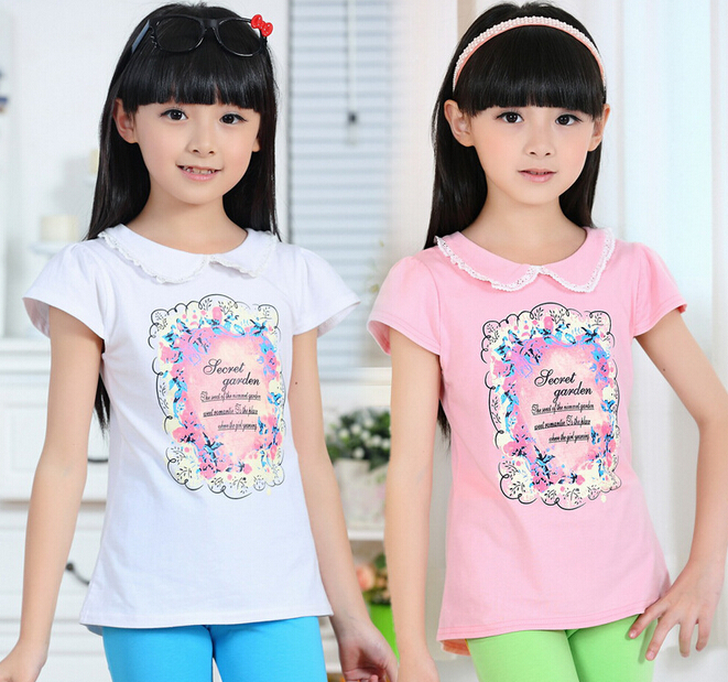 2015 Summer T-Shirts Childrens Place Girl Printed Shirt Girls Short Sleeve Lace Prints T-shirt Kids t shirt clothes Child TOPS(China (Mainland))