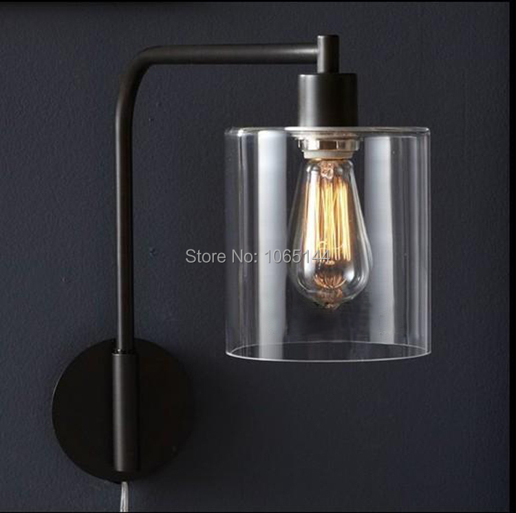 Modern Wall Sconces Bedroom : Loft-Vintage-Nostalgic-Industry-Lustre-Clear-Glass-Edison-Wall-Sconce-Lamp-Bathroom-Beside ...