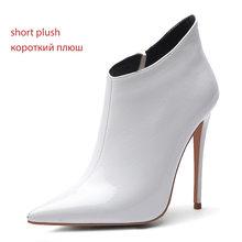 WETKISS Bằng Sáng Chế PU Mắt Cá Chân Giày Bốt Nữ Đế Giày Cao Gót Boot Nữ Mũi Nhọn Giày Khóa Zip Nữ Giày Mùa Đông Plus Kích Thước 45(China)