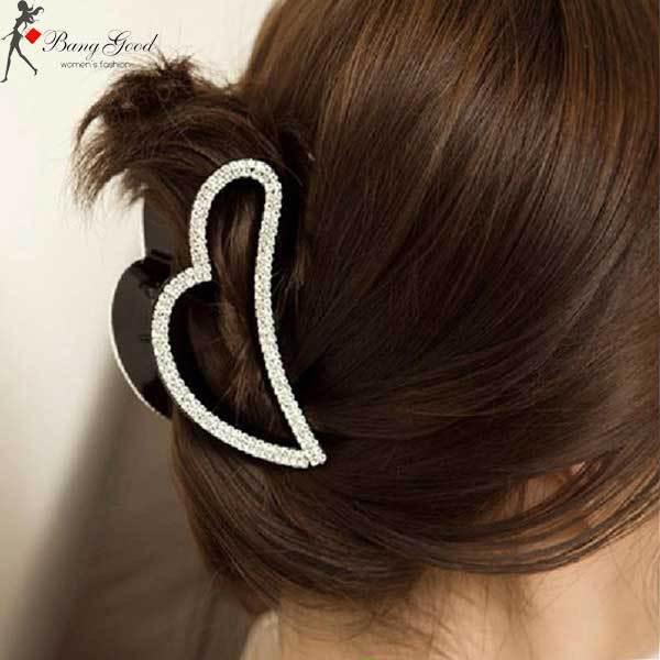 GlenBrook Peach Heart Rhinestone Crystal Claw Hair Clip(China (Mainland))
