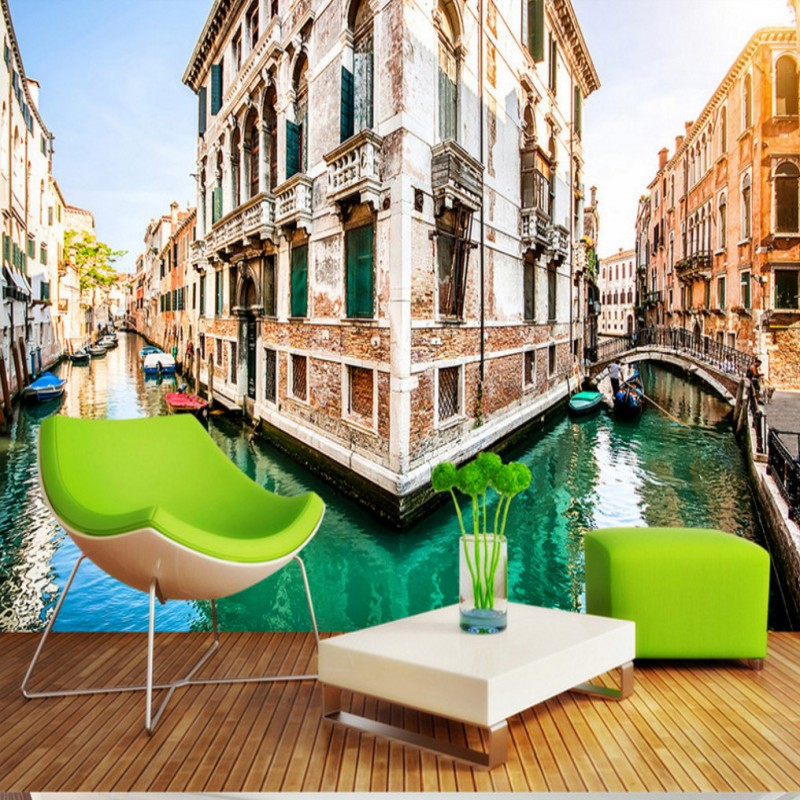 Free Shipping Venice canal 3D backdrop living room lobby bedroom wallpaper high quality bathroom office hotel mural(China (Mainland))