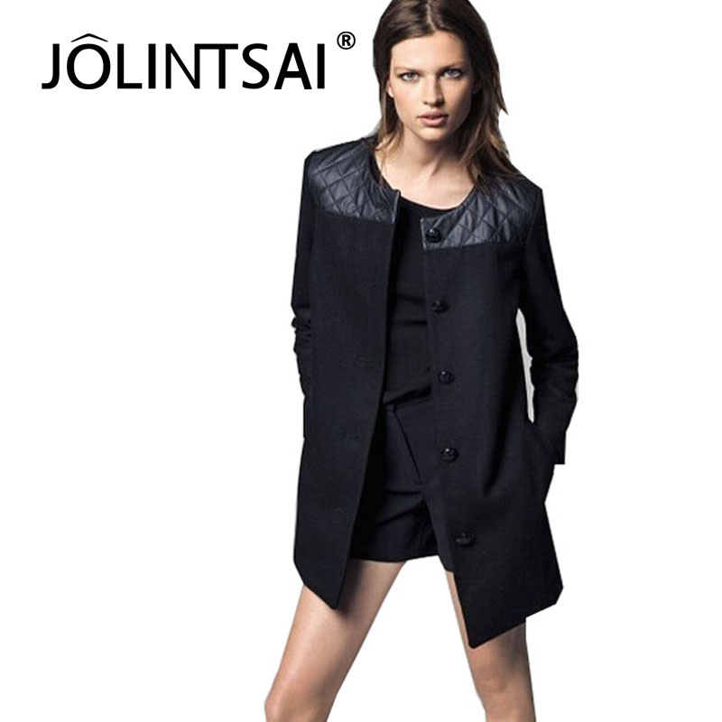 new arrival hot sale 2014 women woolen leather patchwork coat long elegant luxury single-breasted black gray coats(China (Mainland))